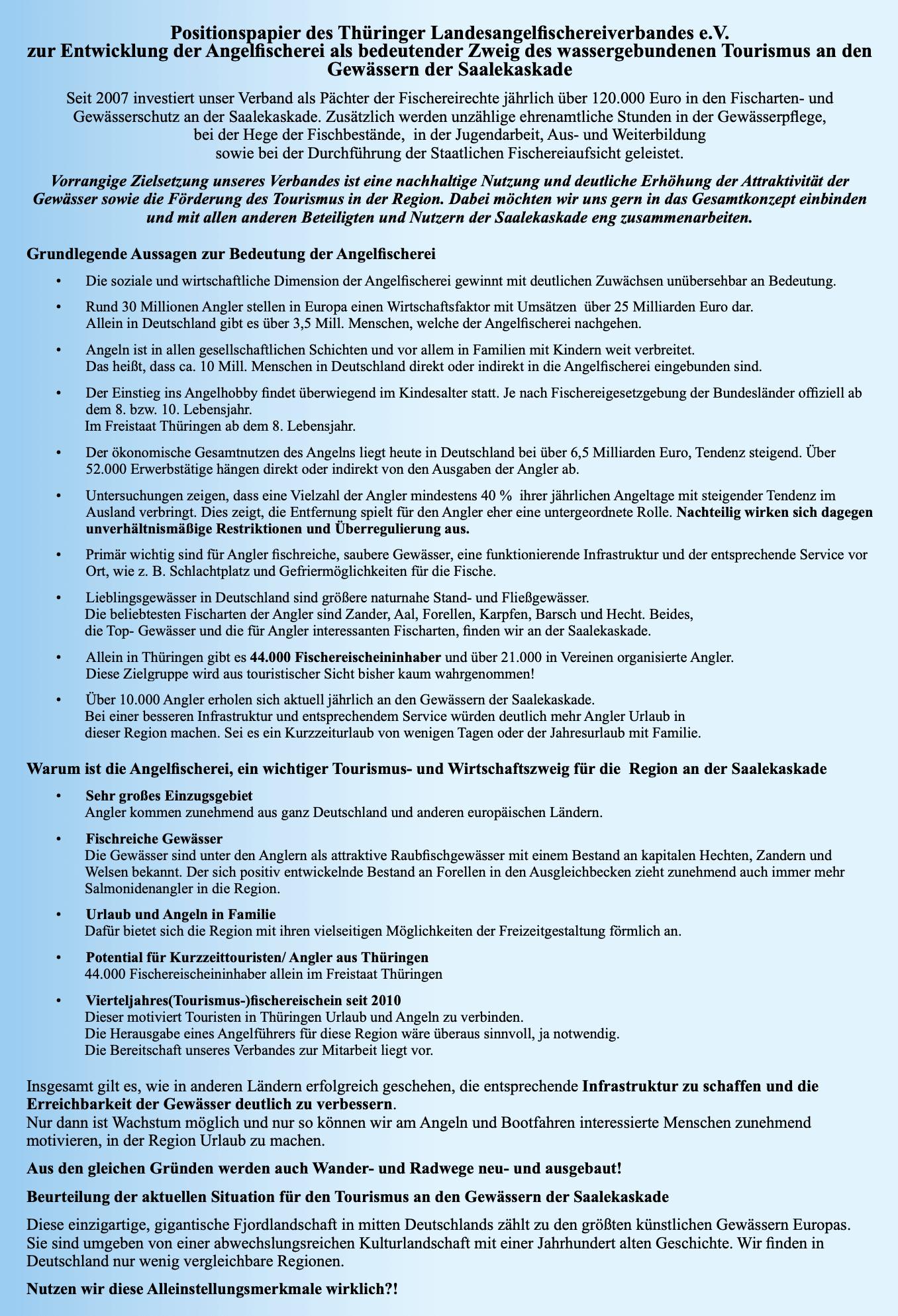 Positionspapier des Thüringer Landesangelfischereiverbandes e.V. zur Entwicklung der Angelfischerei